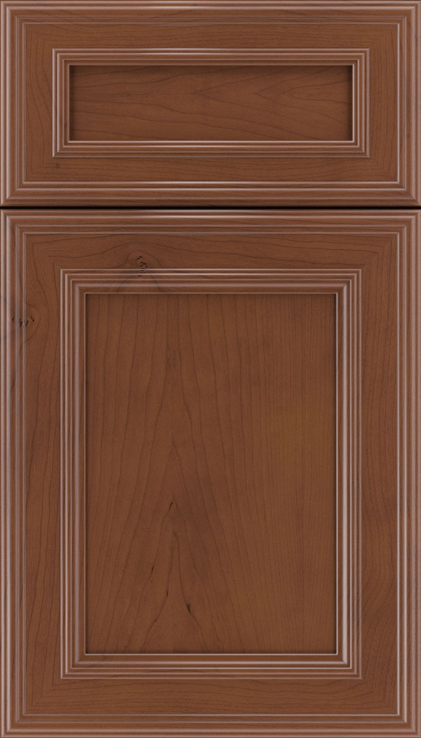 Chatham 5pc Cherry recessed panel cabinet door in Russet