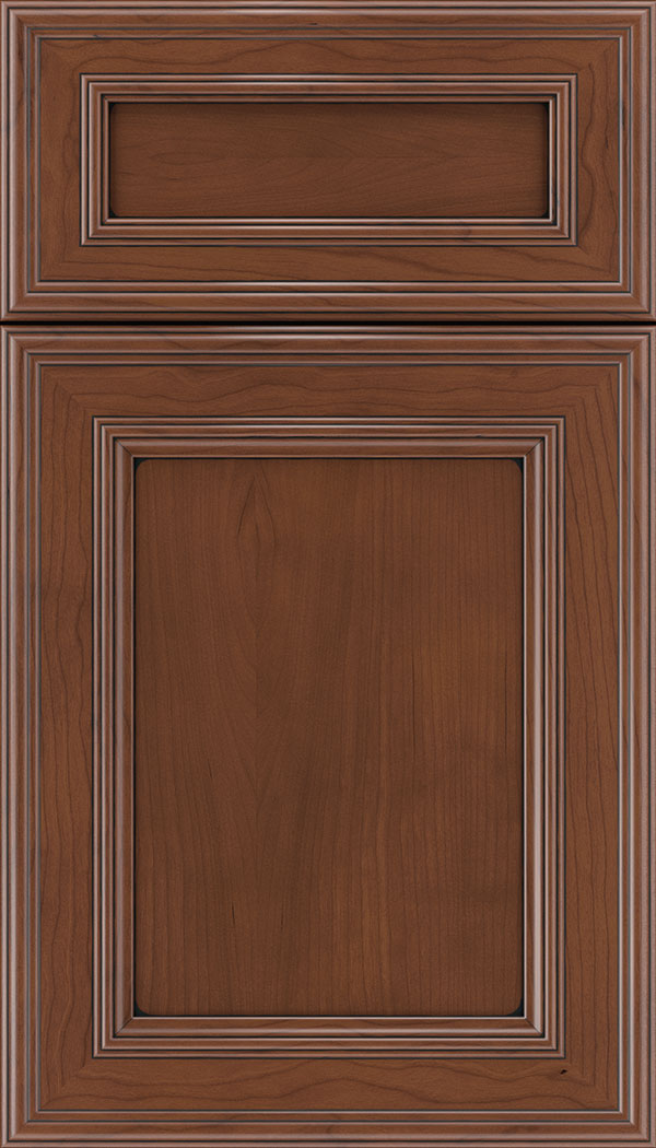 Chatham 5pc Cherry recessed panel cabinet door in Russet with Black glaze