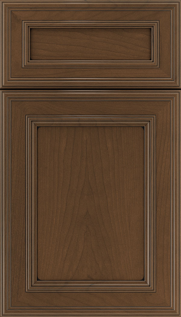 Chatham 5pc Cherry recessed panel cabinet door in Sienna with Black glaze