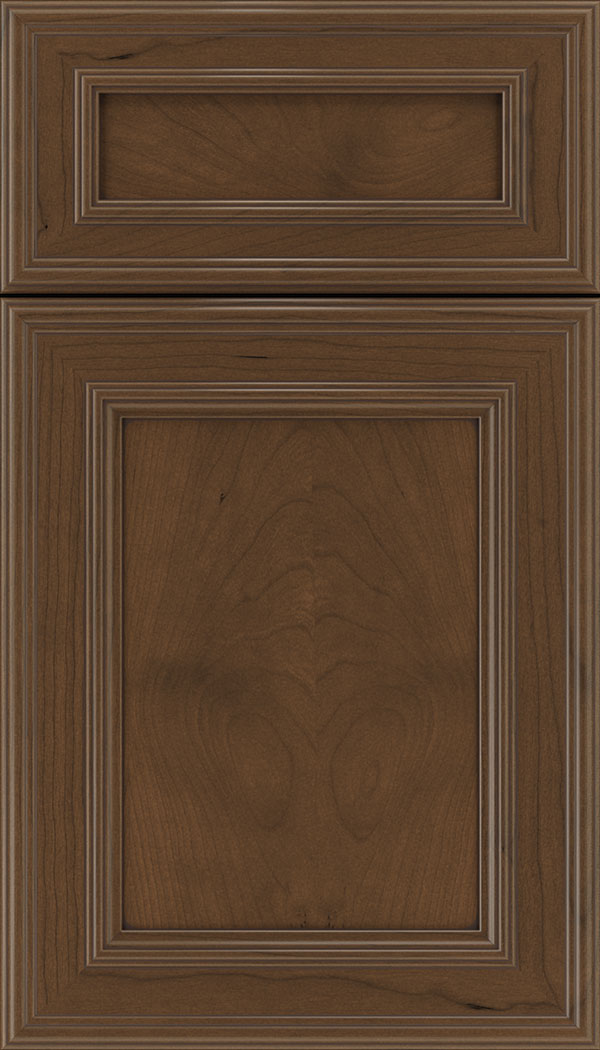 Chatham 5pc Cherry recessed panel cabinet door in Sienna with Mocha glaze