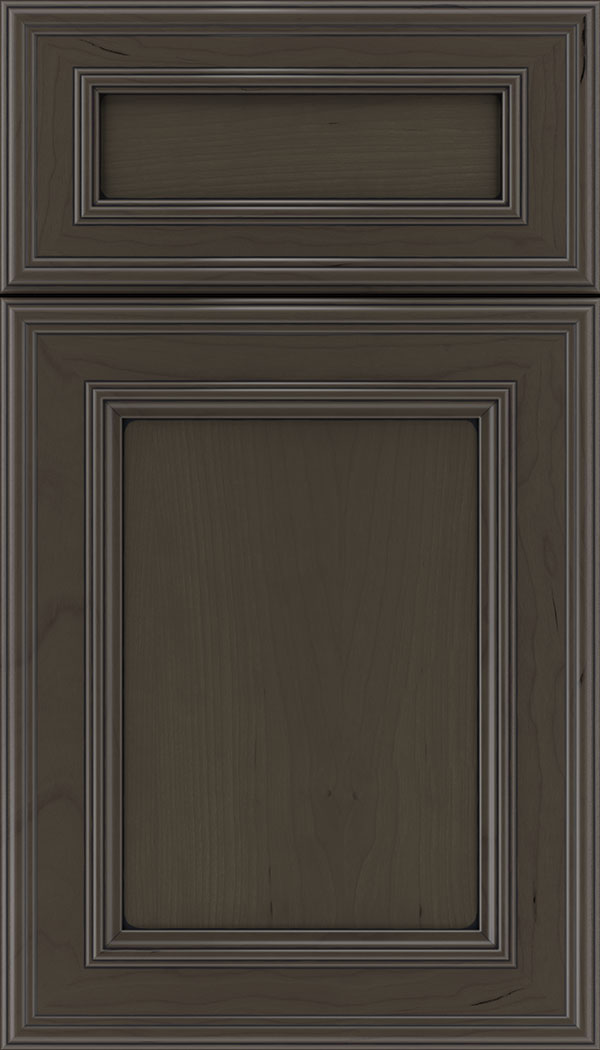 Chatham 5pc Cherry recessed panel cabinet door in Thunder with Black glaze