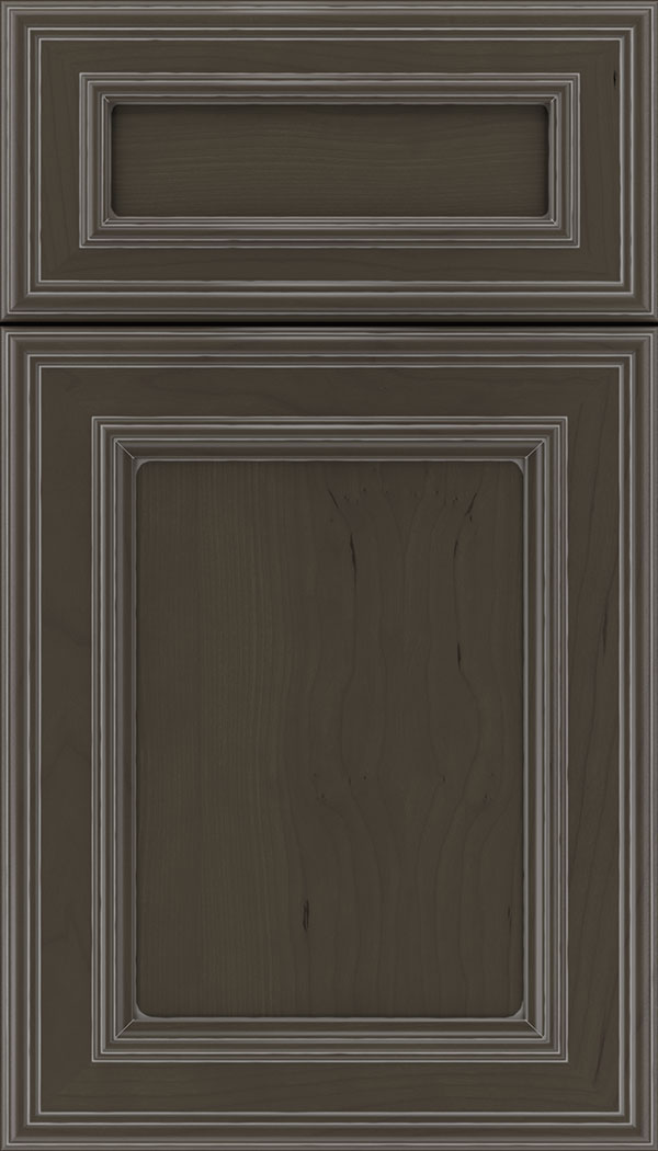 Chatham 5pc Cherry recessed panel cabinet door in Thunder with Pewter glaze