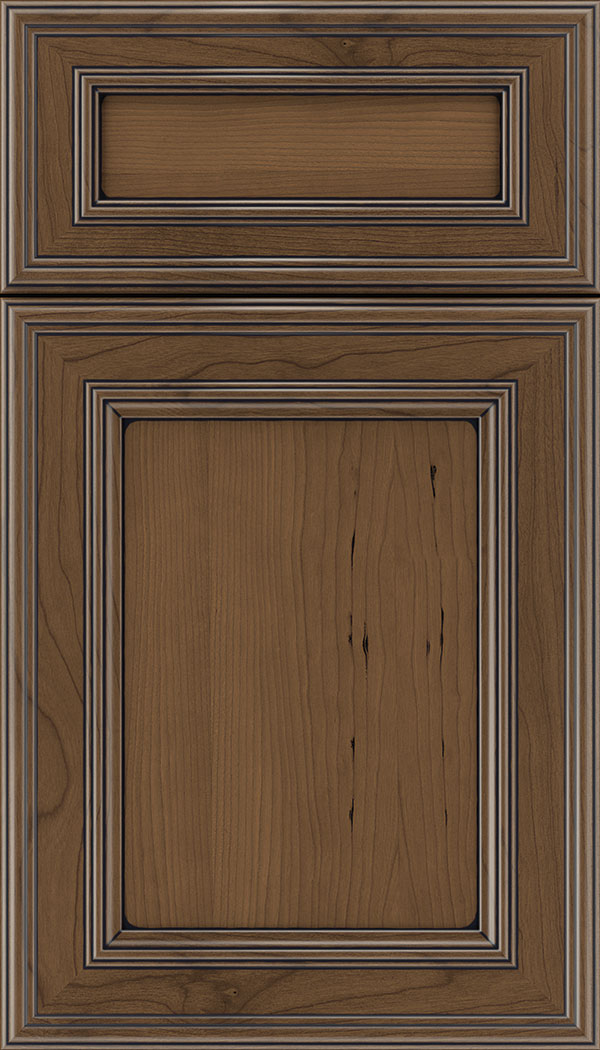 Chatham 5pc Cherry recessed panel cabinet door in Toffee with Black