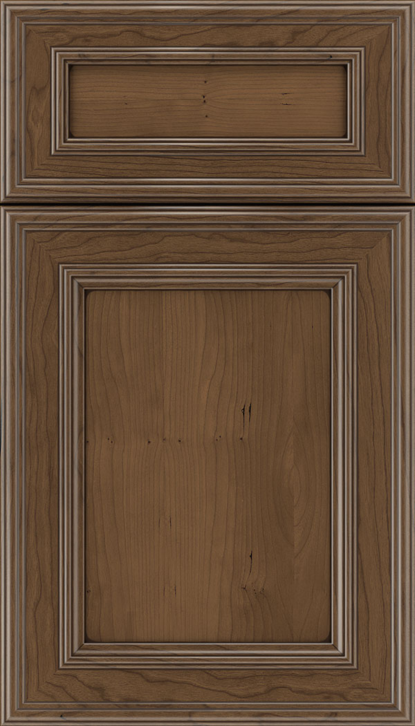 Chatham 5pc Cherry recessed panel cabinet door in Toffee with Mocha glaze