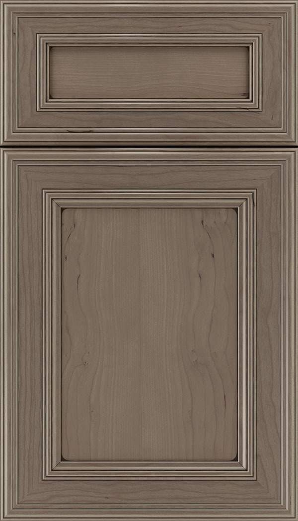 Chatham 5pc Cherry recessed panel cabinet door in Winter with Black glaze