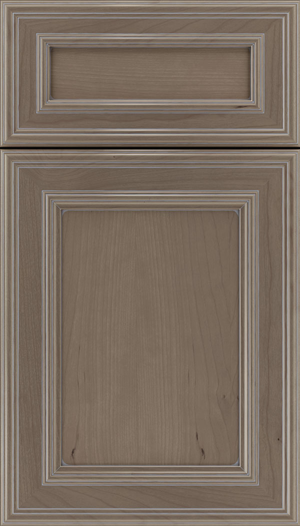 Chatham 5pc Cherry recessed panel cabinet door in Winter with Pewter glaze