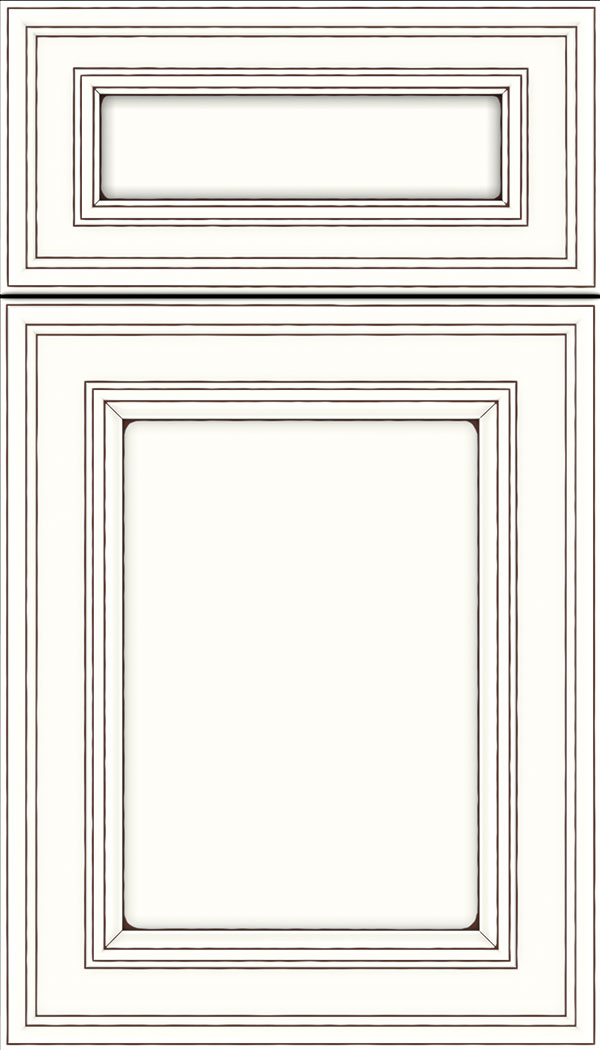 Chatham 5pc Maple recessed panel cabinet door in Alabaster with Mocha glaze