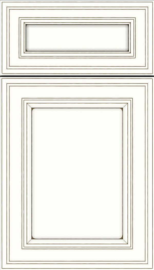 Chatham 5pc Maple recessed panel cabinet door in Alabaster with Smoke glaze