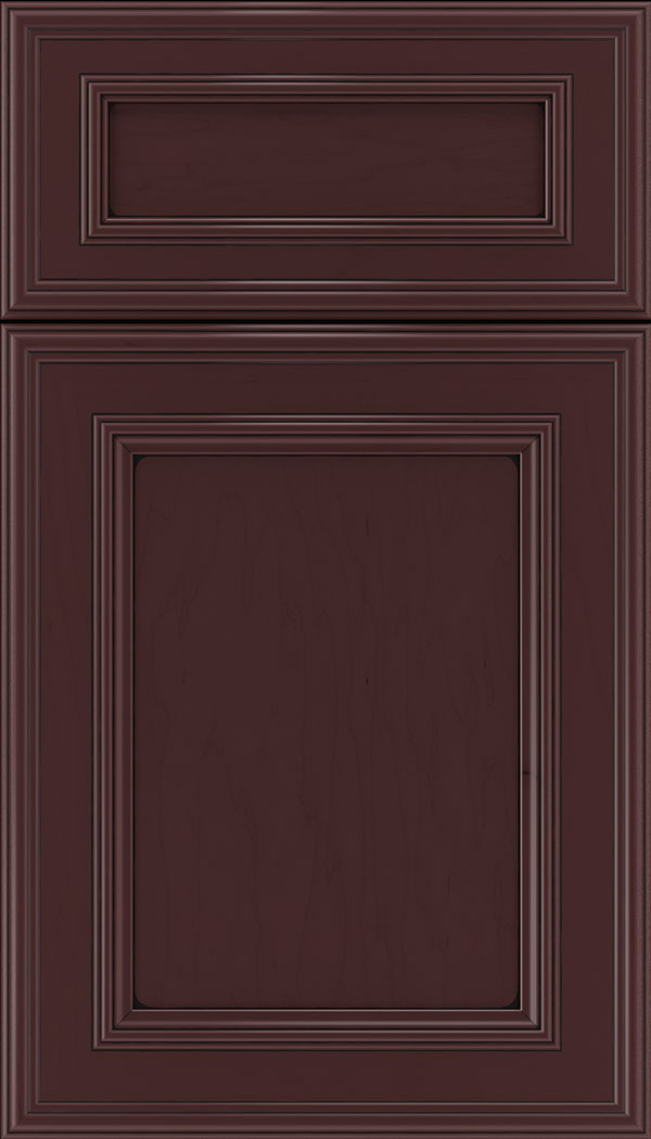 Chatham 5pc Maple recessed panel cabinet door in Bordeaux with Black glaze