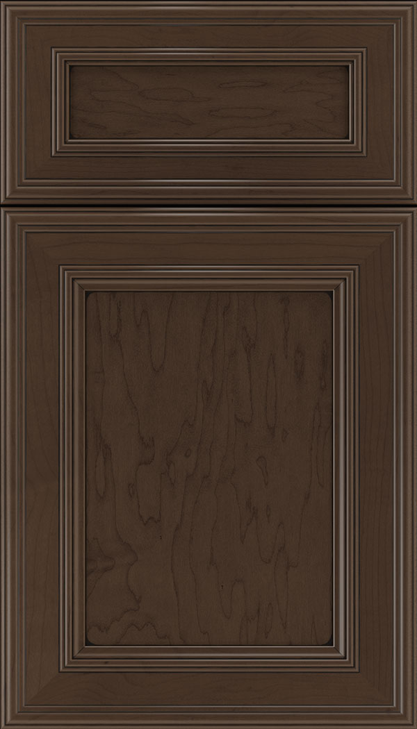 Chatham 5pc Maple recessed panel cabinet door in Cappuccino with Black glaze