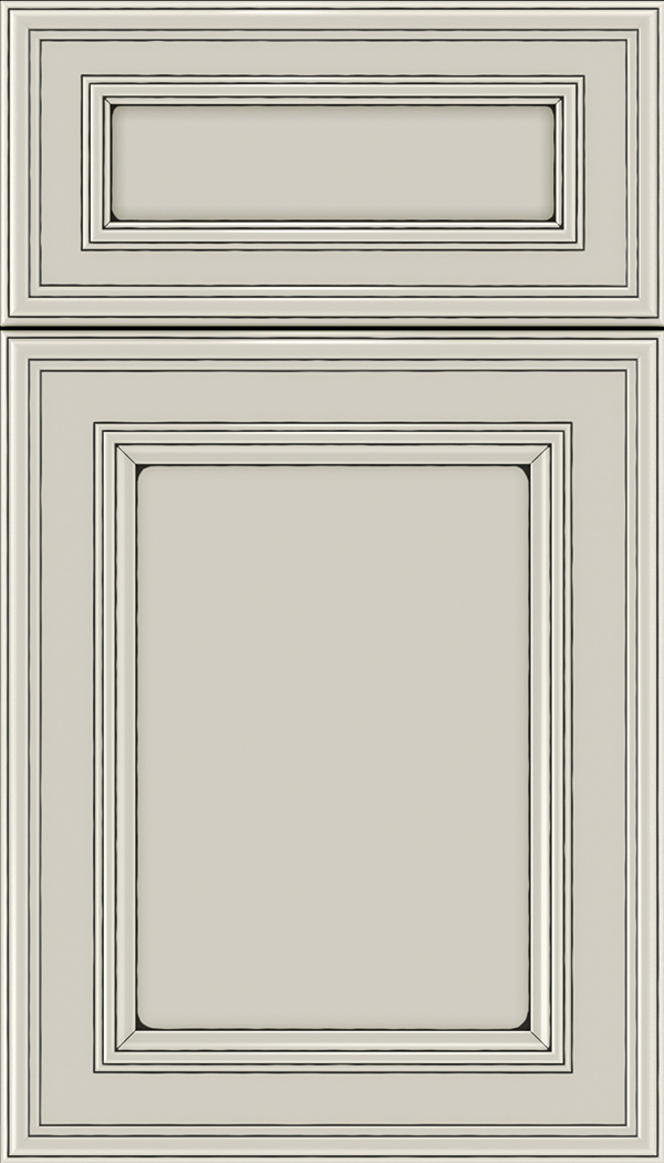Chatham 5pc Maple recessed panel cabinet door in Cirrus with Black glaze