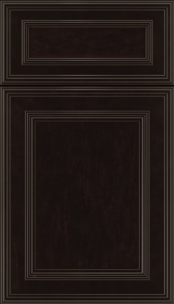 Chatham 5pc Maple recessed panel cabinet door in Espresso with Black glaze