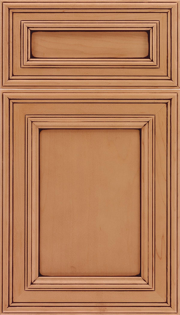 Chatham 5pc Maple recessed panel cabinet door in Ginger with Mocha glaze