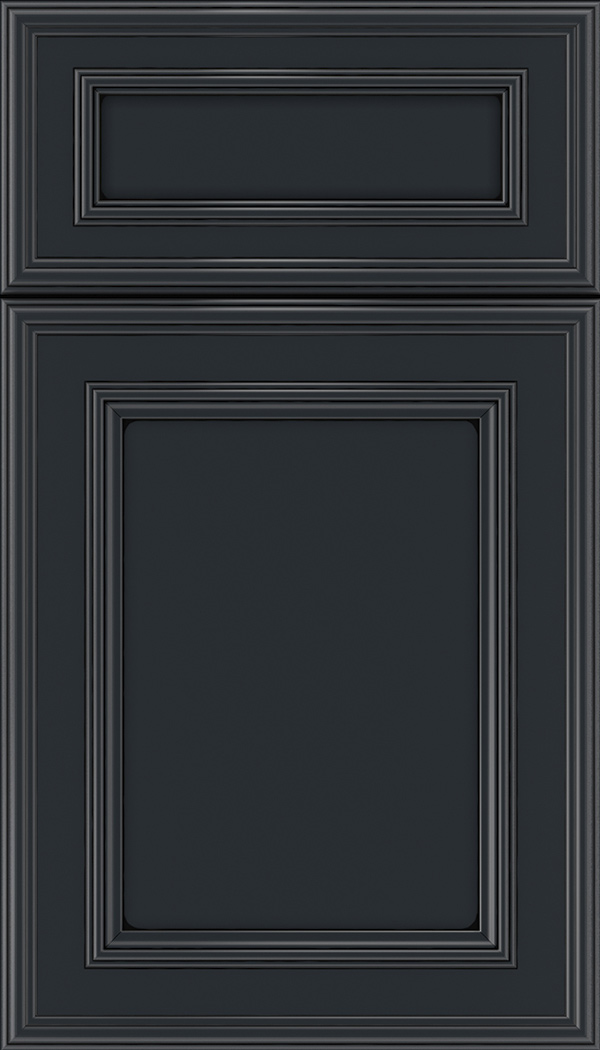 Chatham 5pc Maple recessed panel cabinet door in Gunmetal Blue with Black glaze