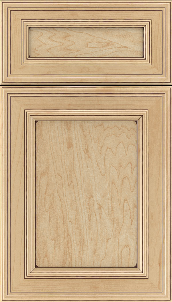 Chatham 5pc Maple recessed panel cabinet door in Natural with Mocha glaze