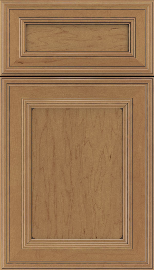 Chatham 5pc Maple recessed panel cabinet door in Nutmeg with Mocha glaze