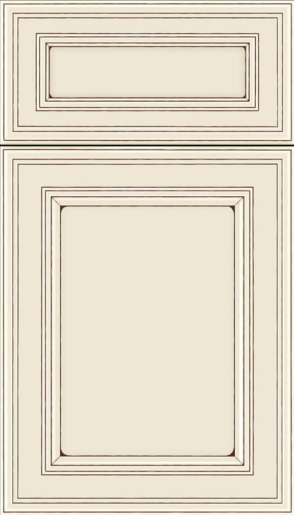 Chatham 5pc Maple recessed panel cabinet door in Seashell with Mocha glaze