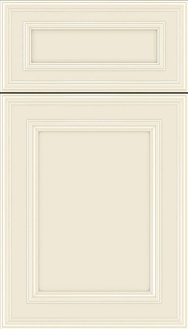 Chatham 5pc Maple recessed panel cabinet door in Seashell with Pewter glaze