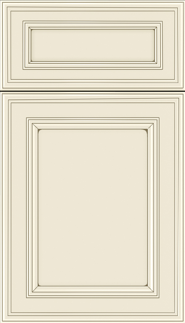Chatham 5pc Maple recessed panel cabinet door in Seashell with Smoke glaze