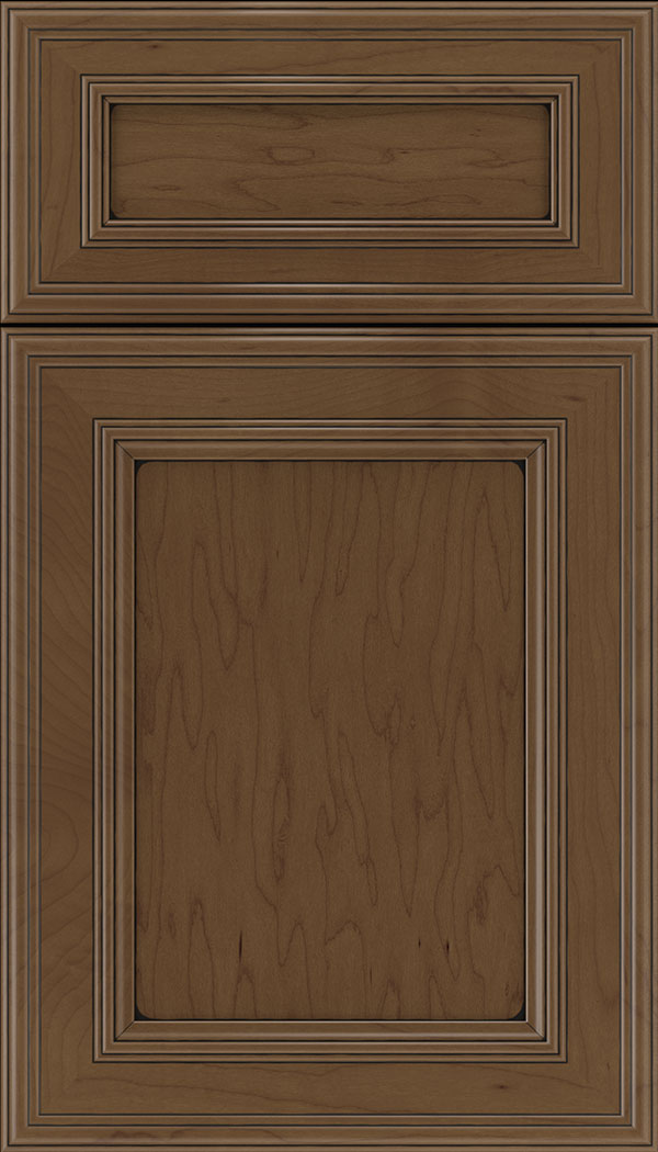 Chatham 5pc Maple recessed panel cabinet door in Sienna with Black glaze