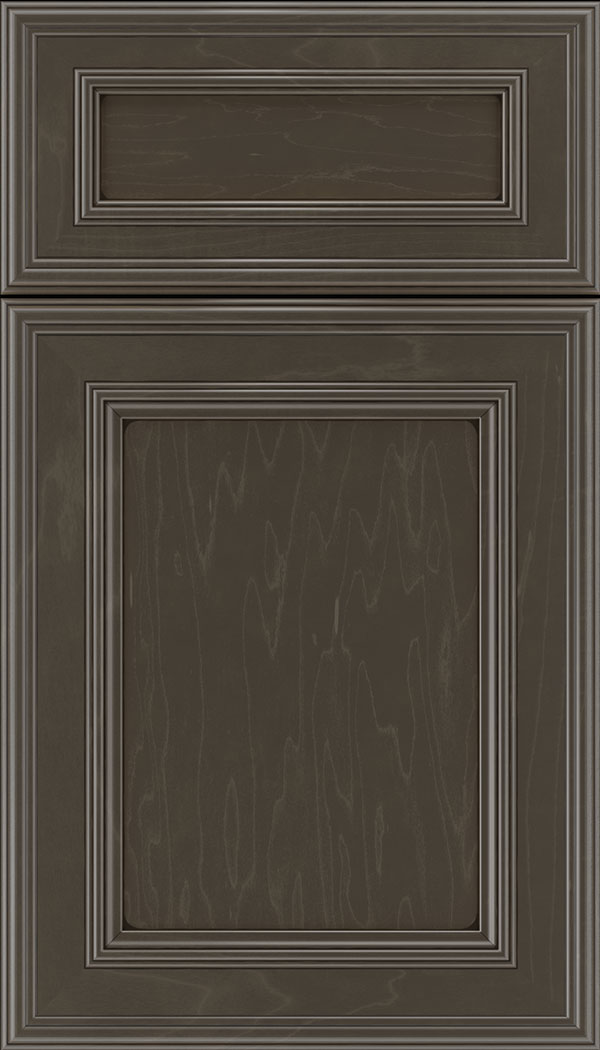 Chatham 5pc Maple recessed panel cabinet door in Thunder with Black glaze