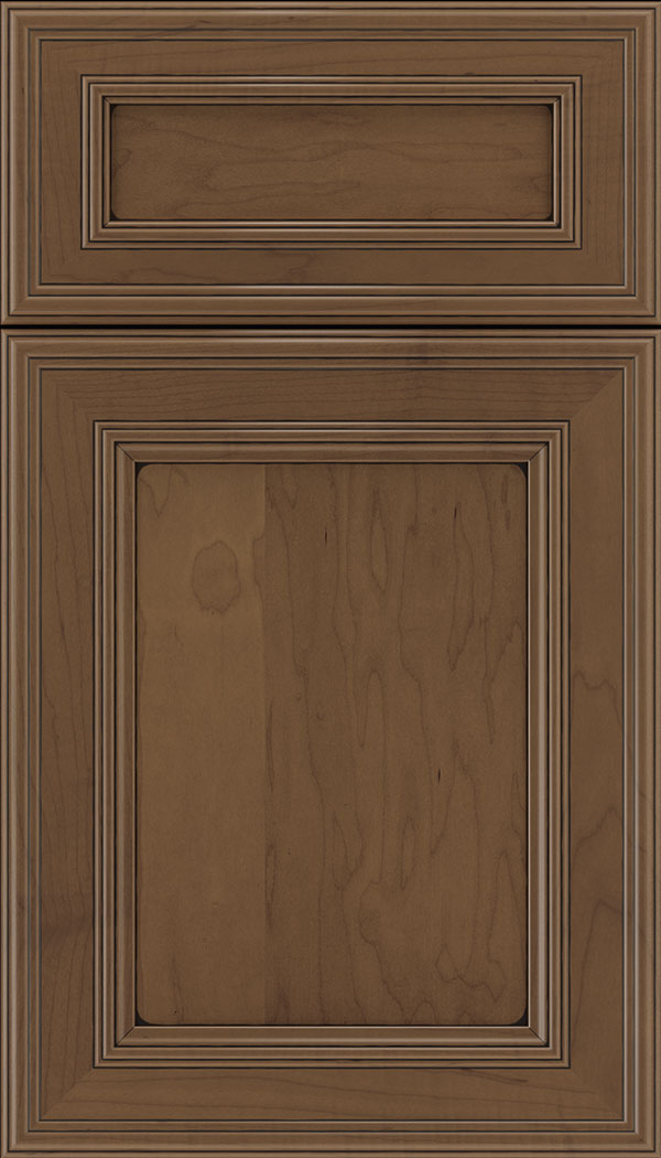 Chatham 5pc Maple recessed panel cabinet door in Toffee with Black glaze