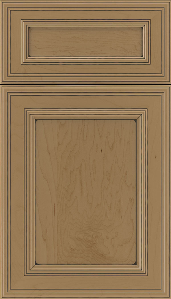 Chatham 5pc Maple recessed panel cabinet door in Tuscan with Black glaze