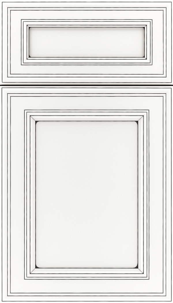 Chatham 5pc Maple recessed panel cabinet door in Whitecap with Black glaze