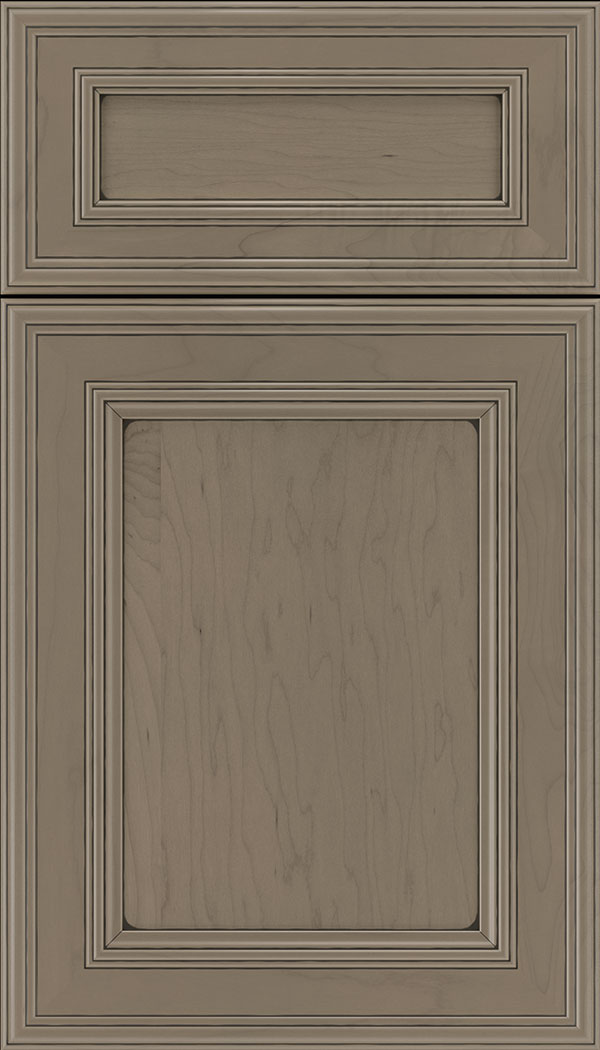 Chatham 5pc Maple recessed panel cabinet door in Winter with Black glaze