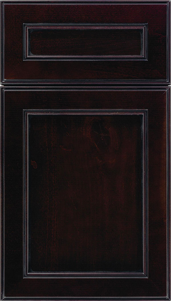 Chelsea 5pc Alder flat panel cabinet door in Espresso with Black glaze