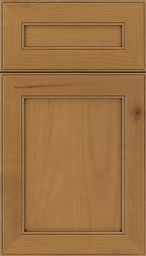 Chelsea 5pc Alder flat panel cabinet door in Ginger with Black glaze