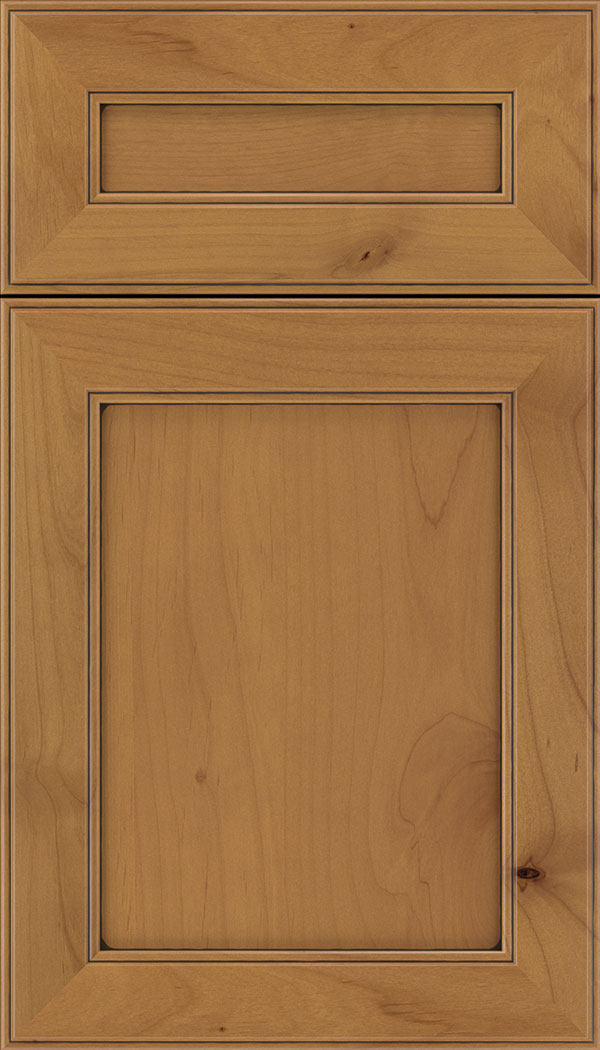 Chelsea 5pc Alder flat panel cabinet door in Ginger with Mocha glaze