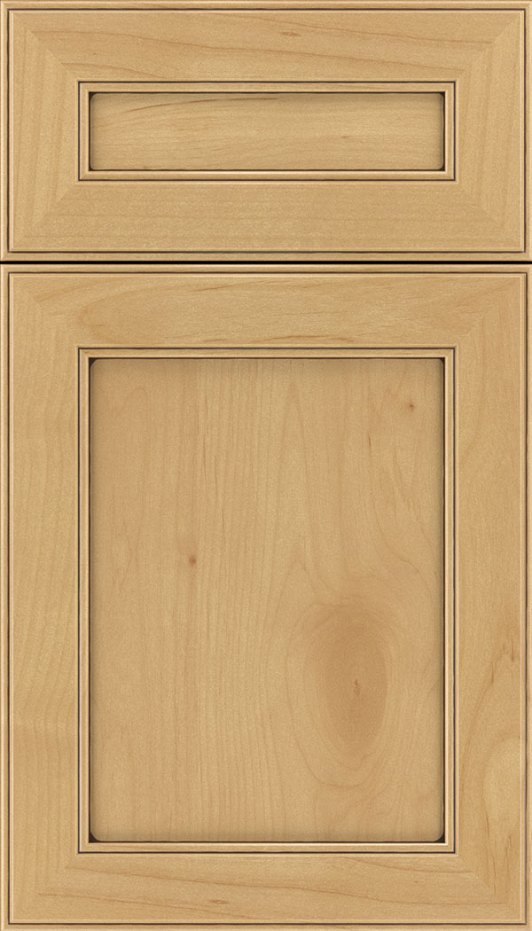 Chelsea 5pc Alder flat panel cabinet door in Natural with Mocha glaze