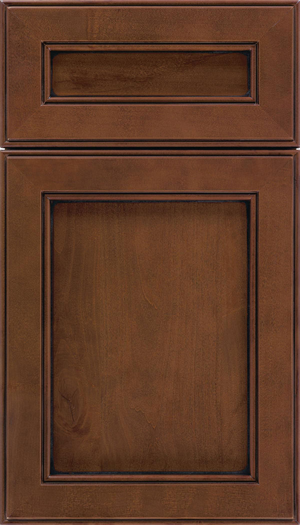 Chelsea 5pc Alder flat panel cabinet door in Sienna with Black glaze