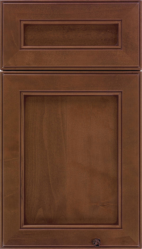 Chelsea 5pc Alder flat panel cabinet door in Sienna with Mocha glaze