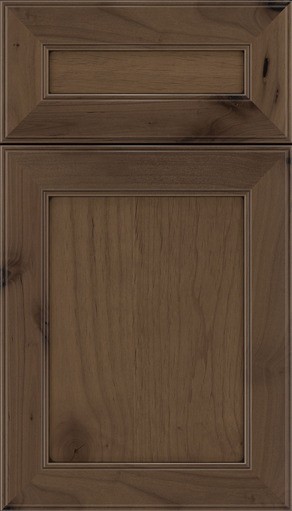 Chelsea 5pc Alder flat panel cabinet door in Toffee with Black glaze