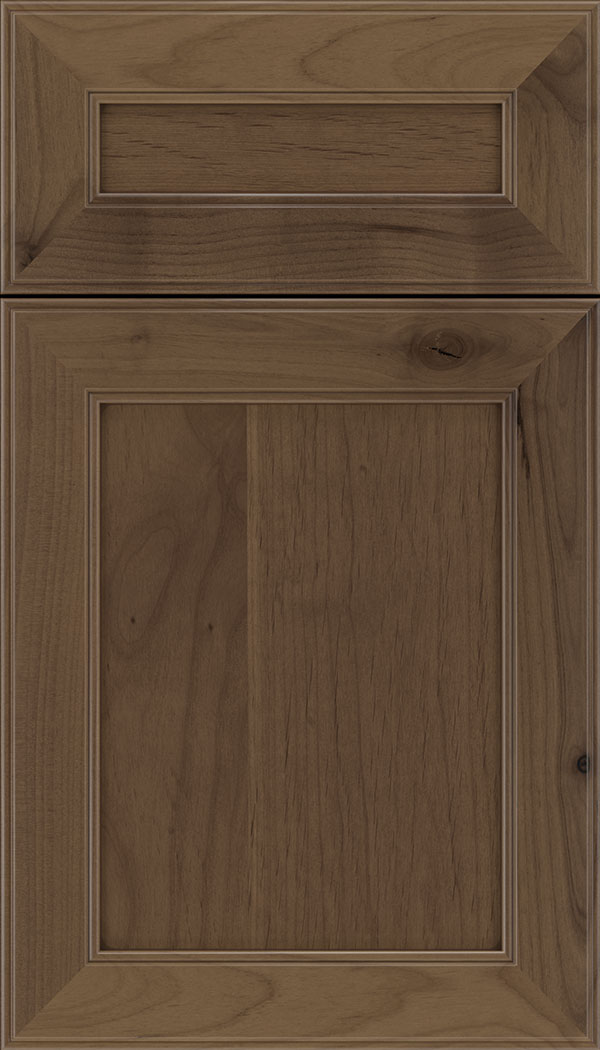 Chelsea 5pc Alder flat panel cabinet door in Toffee with Mocha glaze