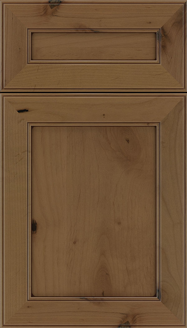 Chelsea 5pc Alder flat panel cabinet door in Tuscan with Mocha glaze