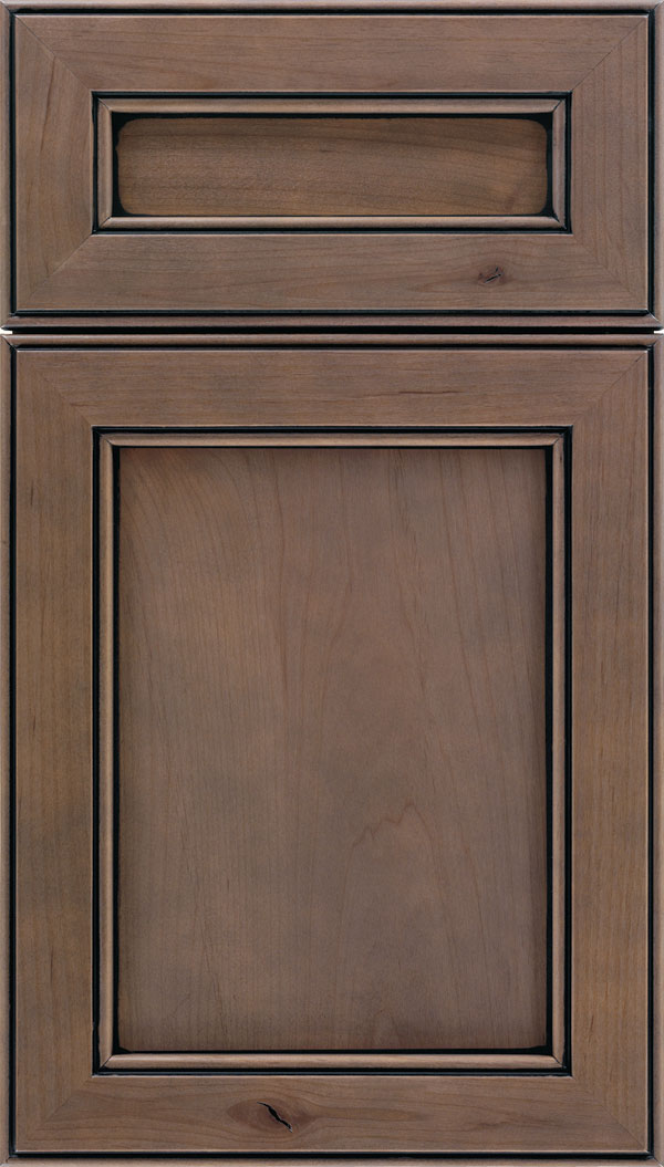 Chelsea 5pc Alder flat panel cabinet door in Winter with Black glaze