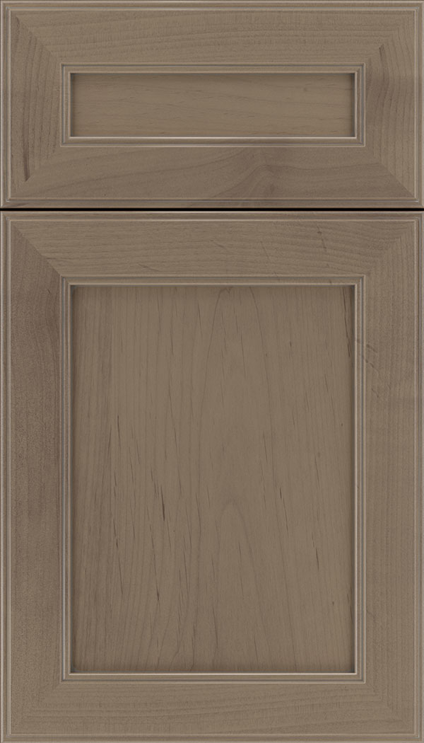 Chelsea 5pc Alder flat panel cabinet door in Winter with Pewter glaze