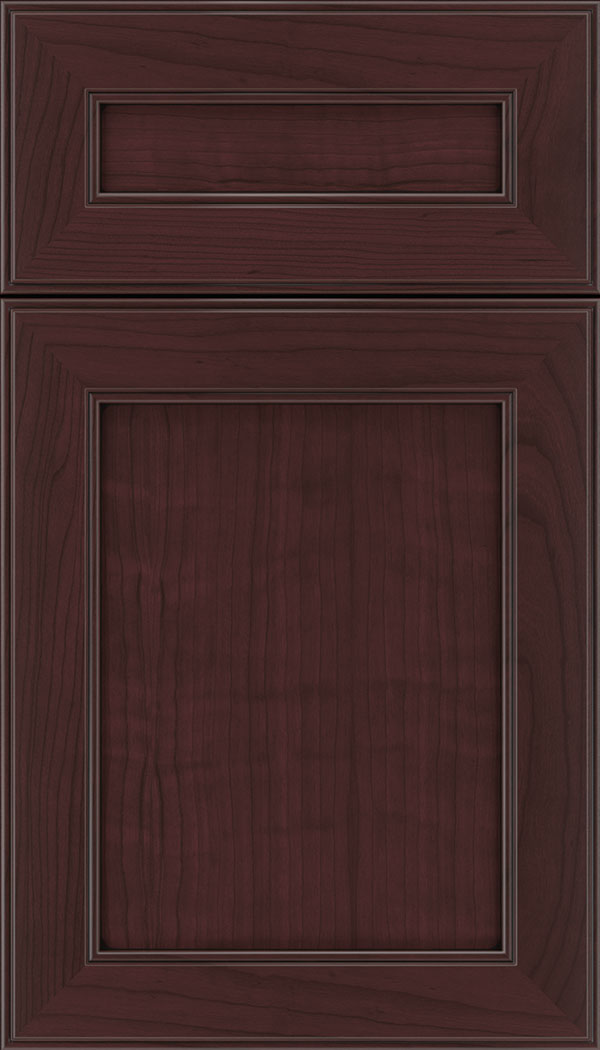 Chelsea 5pc Cherry flat panel cabinet door in Bordeaux with Black glaze