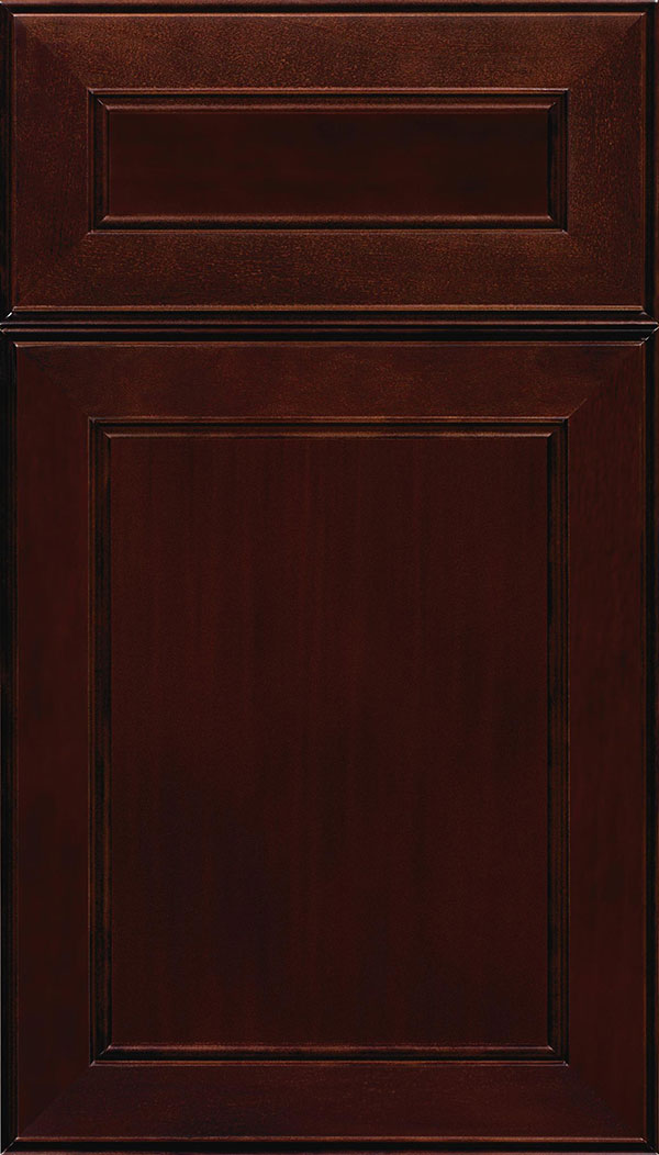 Chelsea 5-Piece Cherry flat panel cabinet door in Cappuccino