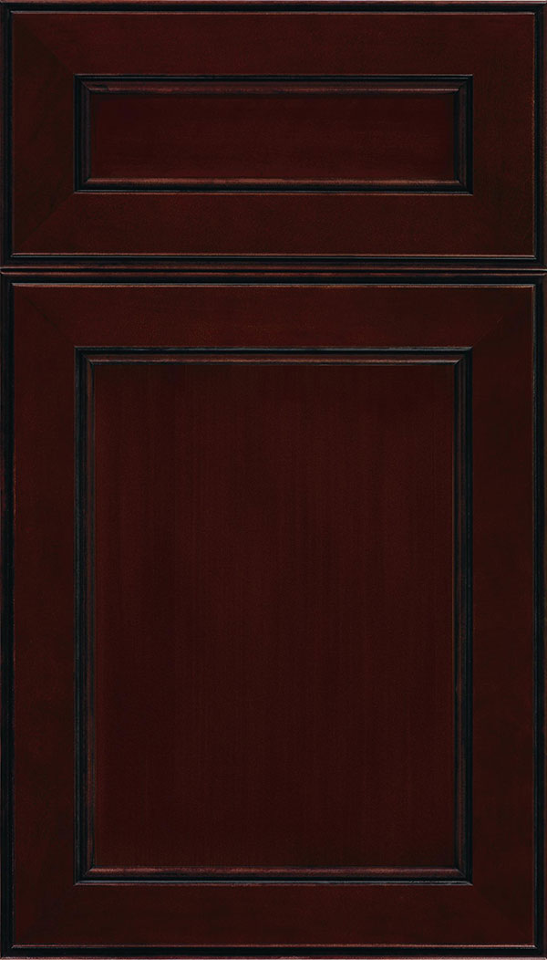 Chelsea 5-Piece Cherry flat panel cabinet door in Cappuccino with Black glaze