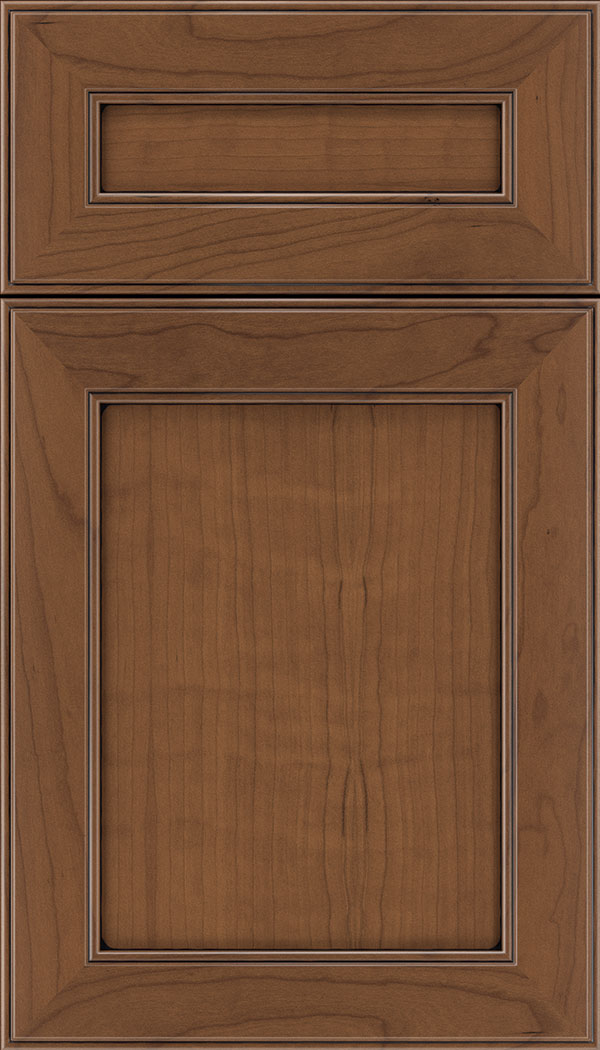 Chelsea 5pc Cherry flat panel cabinet door in Nutmeg with Black glaze