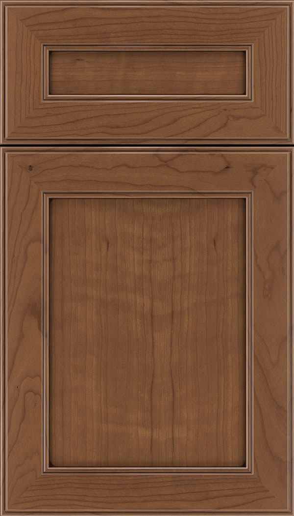 Chelsea 5pc Cherry flat panel cabinet door in Nutmeg with Mocha glaze