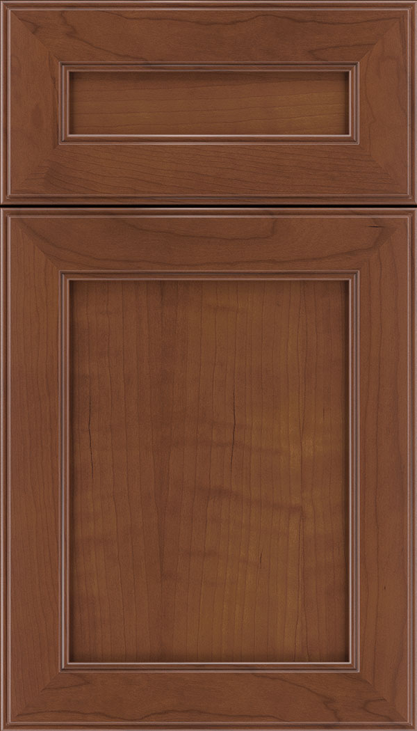 Chelsea 5pc Cherry flat panel cabinet door in Russet