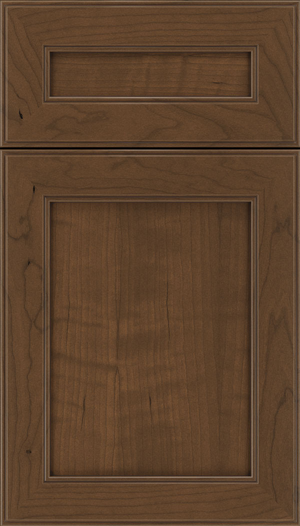 Chelsea 5pc Cherry flat panel cabinet door in Sienna with Mocha glaze