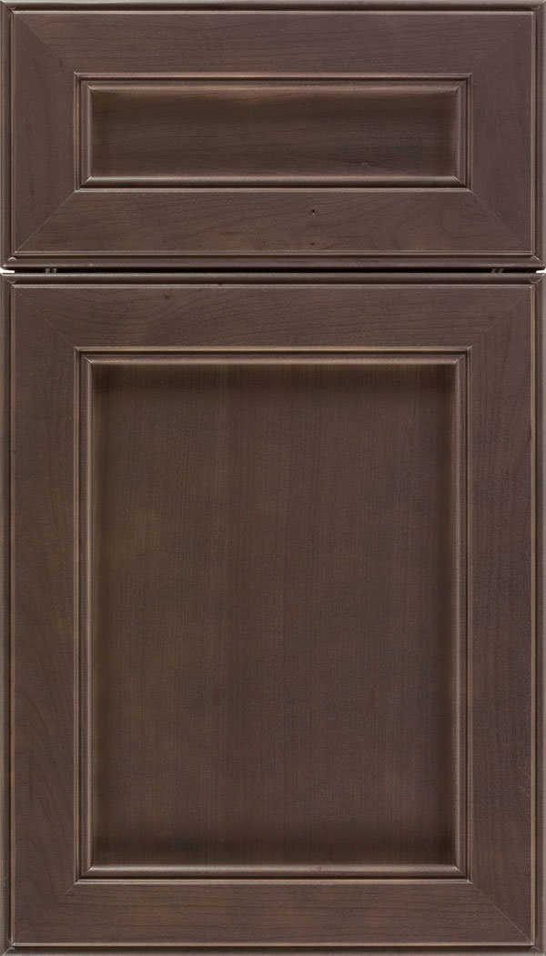 Chelsea 5pc Cherry flat panel cabinet door in Thunder