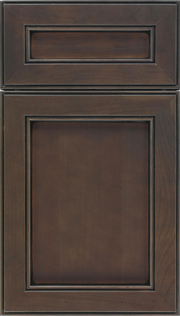 Chelsea 5pc Cherry flat panel cabinet door in Thunder with Black glaze