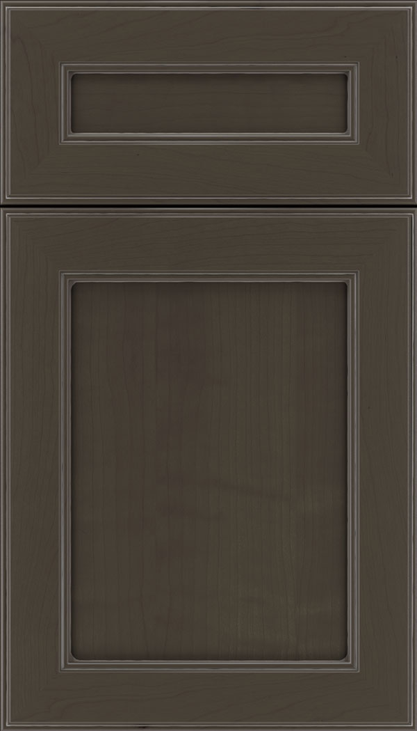 Chelsea 5pc Cherry flat panel cabinet door in Thunder with Pewter glaze